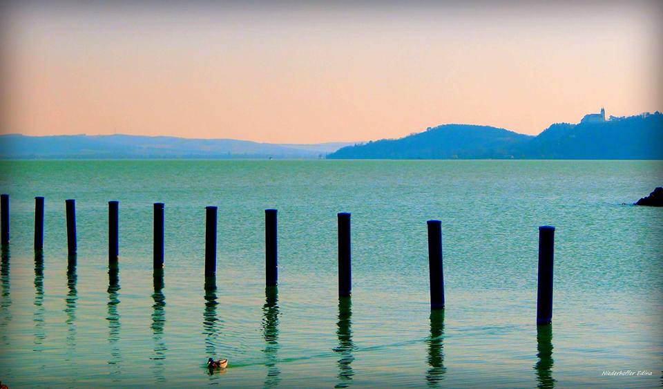 Lake Balaton with the Tihany peninsula.